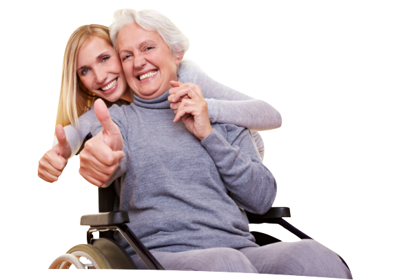 a caregiver with a disabled old woman
